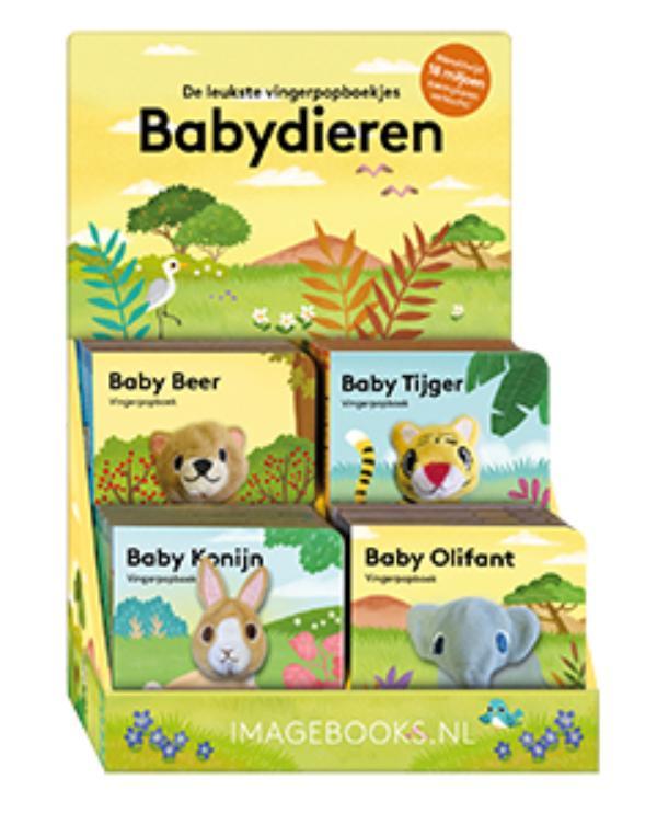 Display vingerpopboekjes baby dieren 1 4Tx4E