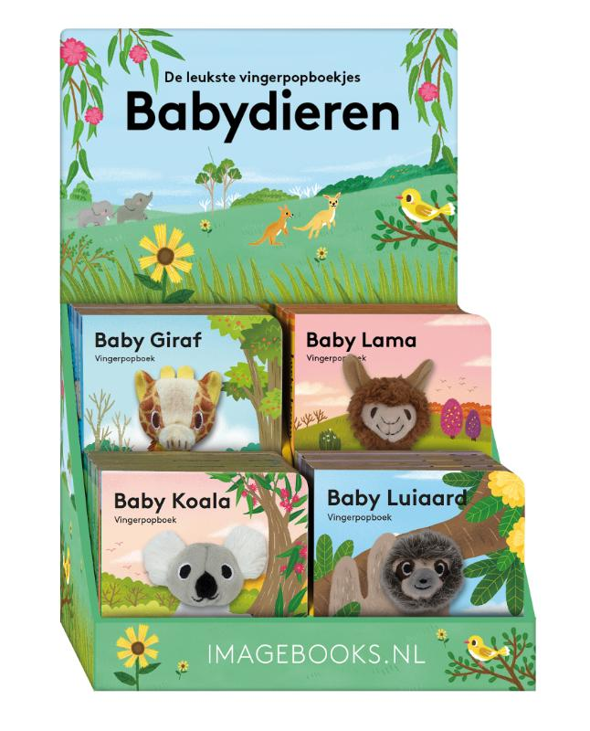 Display Vingerpopboekjes 4Tx4E Babydieren