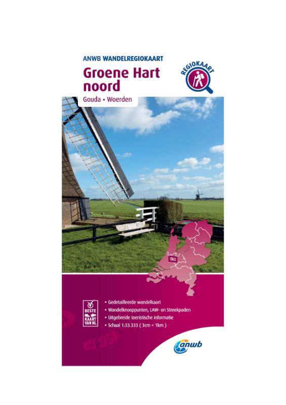 Wandelregiokaart Groene Hart noord 1:33.333
